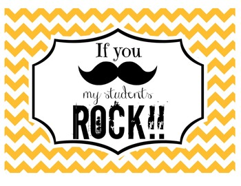 """If you (mustache), my students ROCK!"" Sign (Orange Chevron)"