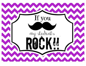 """""""If you (mustache), my students ROCK!"""" Sign (Purple Chevron)"""