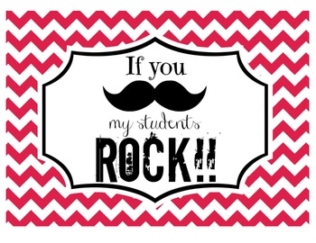 """If you (mustache), my students ROCK!"" Sign (Red Chevron)"