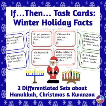Winter Holiday Task Cards: Christmas, Hannukah, Kwanzaa Facts & Grammar Review