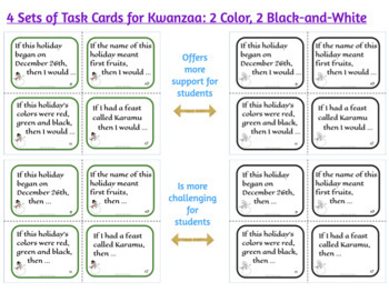 Winter Holiday Task Cards: Christmas, Hanukkah, Kwanzaa Facts & Grammar Review