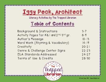 Iggy Peck, Architect:  Literacy Activities