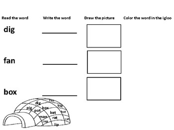 Igloo CVC Read, Draw, Find and Write