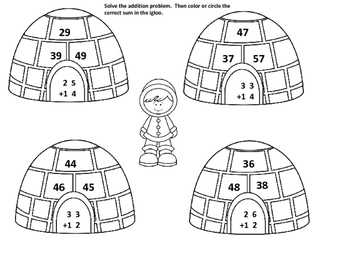 Igloo Double Digit Addition with and without Regrouping
