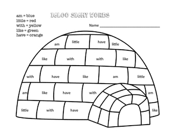 Igloo Sight Words Activity