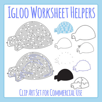 Igloo / Winter / Cold Theme Worksheet Helpers Clip Art for Commercial Use