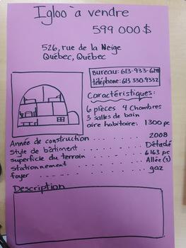 Igloo à vendre - Écriture créative - (French - FSL)