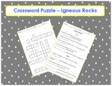 Igneous Rock Crossword Puzzle with fill in the blank clues