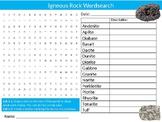 Igneous Rock Wordsearch Sheet Science Geology Starter Activity Keywords