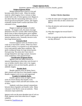 Igneous Rocks Outline Notes