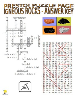 Igneous Rocks Puzzle Page (Wordsearch and Criss-Cross)
