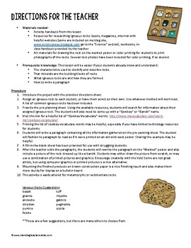 """Igneous Rocks """"Wanted"""" Poster Writing Project"""