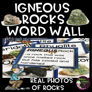 Igneous Rocks Word Wall Cards