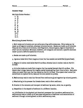 Igneous & Sedimentary Rock Quiz (2 versions)