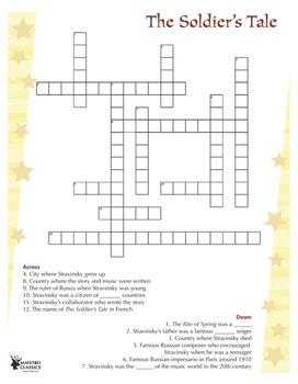 Igor Stravinsky Classical Music Crossword Puzzle
