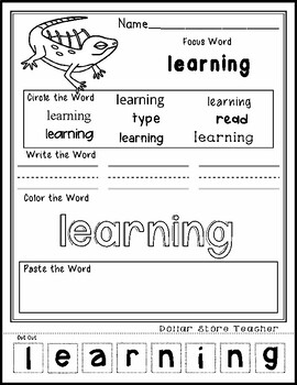 Iguana - Editable Word Worksheet w/ Theme Focus