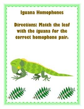 Iguana Homophones Matching Game
