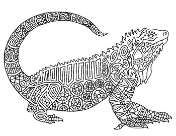 Iguana Reptile Zentangle Coloring Page