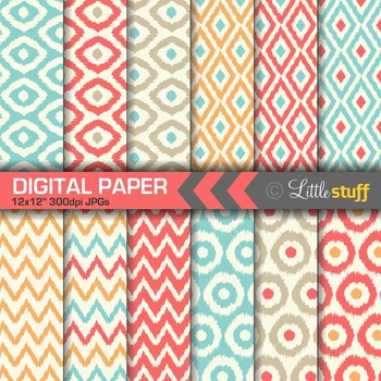 Ikat Digital Paper Pack, Coral, Orange, Turquoise