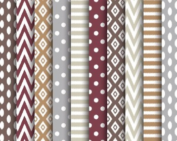Ikat Fall Papers, Digital Papers, Fall Paper Set #142