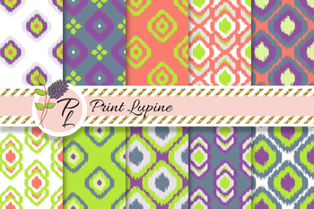 Ikat Seamless Green and Violet Pattern Set. Digital paper.