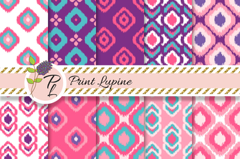 Ikat Seamless Pink and Purple Pattern Set. Digital paper.