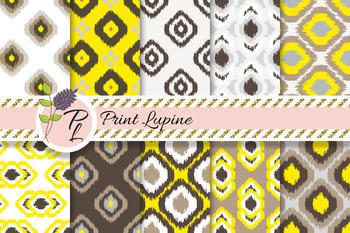 Ikat Seamless Yellow and Brown Pattern Set. Digital paper.
