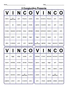 Il Congiuntivo Presente Tombola Italian subjunctive bingo