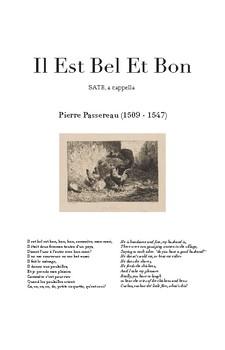 Il Est Bel Et Bon - Passereau - Score