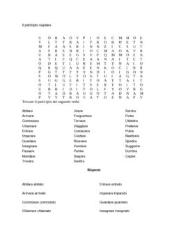 Il Participio: verbi regolari e irregolari