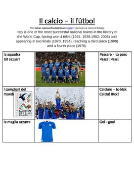 Il calcio - Italian soccer vocabulary sheet
