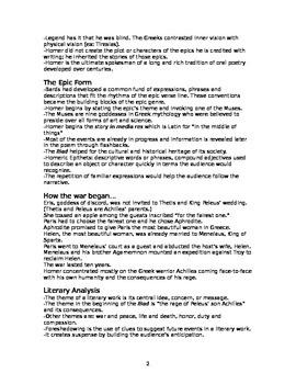 Iliad - Ancient Greece, Rome & Iliad Background Worksheet