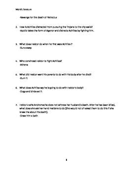 Iliad Reading Qs with Answer Key