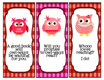 I'll Owl-ways Love Reading Valentine Bookmarks