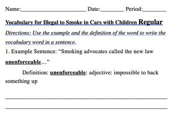 Illegal to Smoke in Cars Article with Scavenger Hunt, Vocab, Short Answer