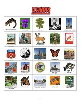 Illinois Bingo:  State Symbols and Popular Sites