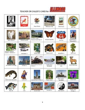 Illinois Bingo:  State Symbols and Popular Sites