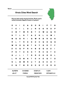 Illinois Cities Word Search (Grades 3-5)