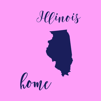 Illinois Clipart, USA State Vector Clipart, Illinois Home, Gold US Clipart