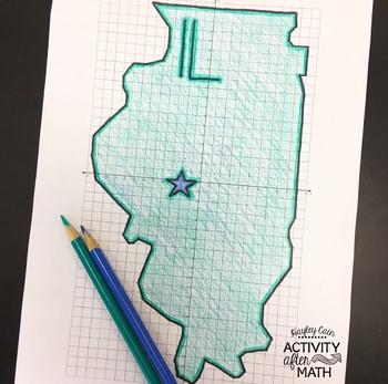 Illinois Coordinate Graphing Picture 1st Quadrant & ALL 4 Quadrants