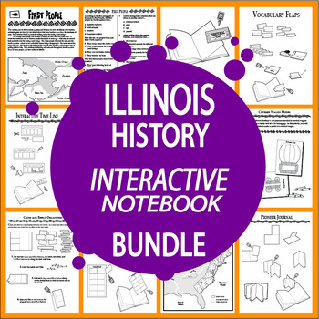 Illinois History Interactive Notebook Bundle – 11 Illinois State Study Lessons!