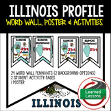Illinois History Word Wall, State Profile, Activity Pages