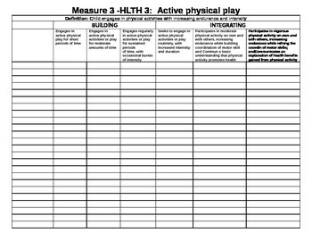 Illinois KIDS checklist for Physical Development (PD) and Health (HLTH)