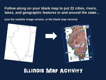 Illinois Map Activity- fun, engaging, follow-along 18-slide PPT