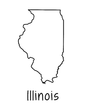 Illinois Map Coloring Page Craft - Lots of Room for Note-Taking & Creativity