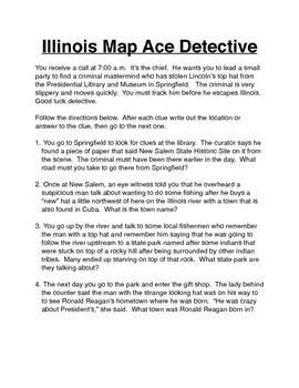 Illinois Map Treasure Hunt Activity