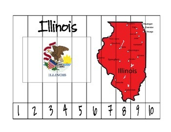 Illinois Map and Flag Counting Puzzle