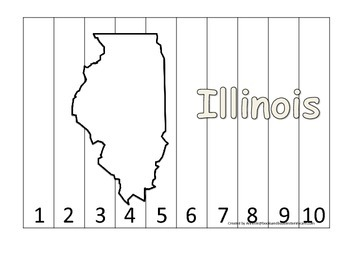 Illinois Number Sequence Puzzle.  Learn the States preschool printable game.