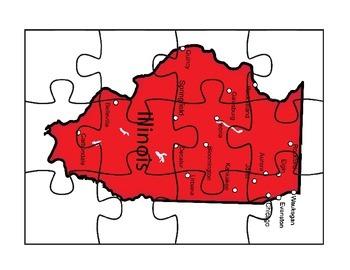 Illinois Puzzle Map Activity