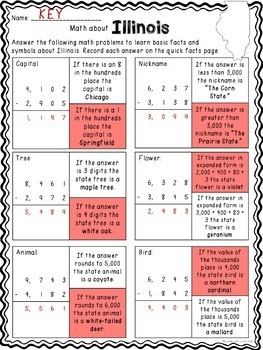 Math about Illinois State Symbols through Subtraction Practice Freebie
